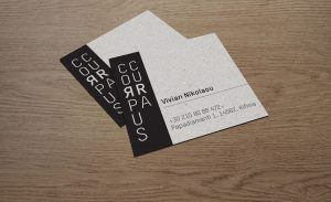 graphic design, logo, CORPUS CURA, brand identity, Athens, natural, cosmetics, business cards