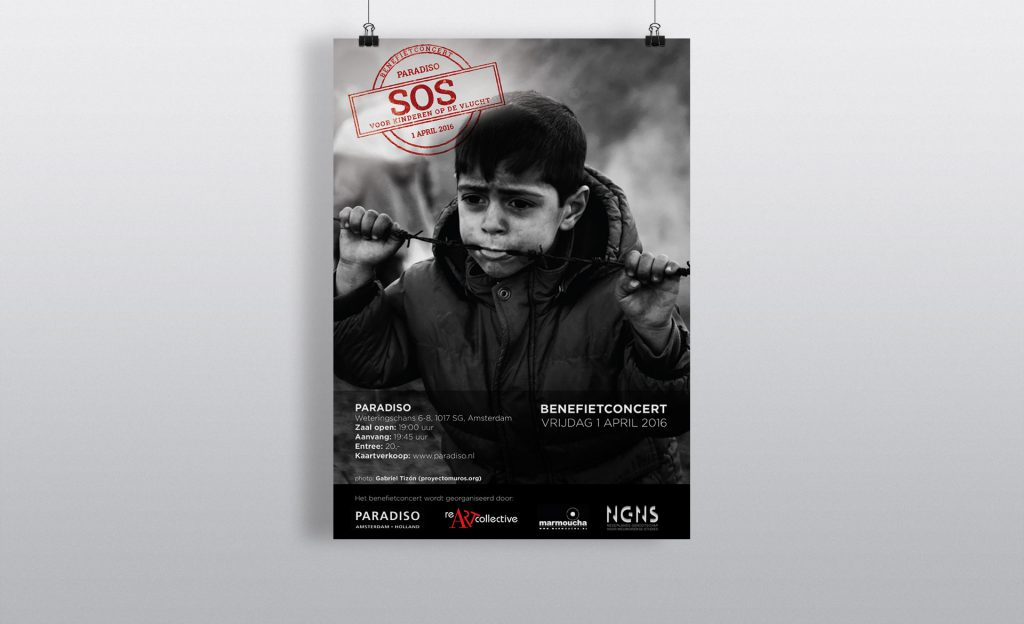 poster, graphic design, layout, music, refugees, concert, benefit
