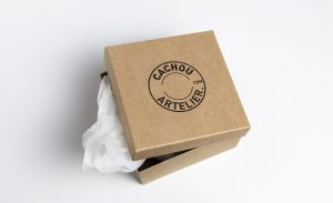 graphic design, logo, CACHOU Artlelier, brand identity, Amsterdam, jewellery, goldsmith, package, box, brown paper